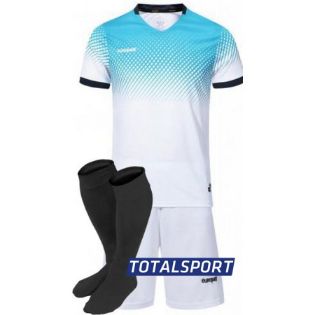 Футбольная форма Europaw 024 бело-голубая(футболка+шорты+гетры)