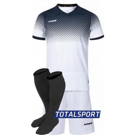 Футбольная форма Europaw 024 бело-т.синяя (футболка+шорты+гетры)