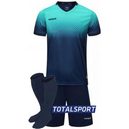 Футбольная форма Europaw 024 т.сине-бирюзовая (футболка+шорты+гетры)