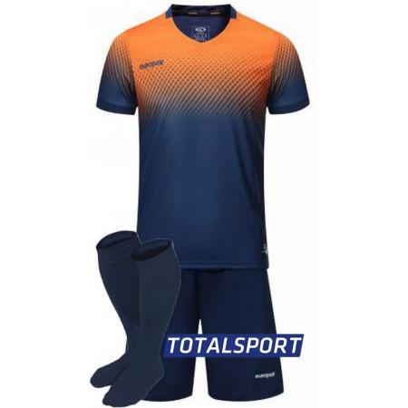 Футбольная форма Europaw 024 т.сине-оранжевая (футболка+шорты+гетры)