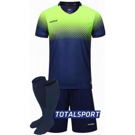 Футбольная форма Europaw 024 т.сине-салатовая (футболка+шорты+гетры)