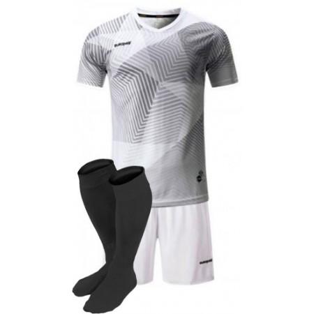Футбольная форма Europaw 025 бело-серая (футболка+шорты+гетры)
