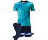 Футбольная форма Europaw 025 бирюзово-т.синяя (футболка+шорты+гетры)