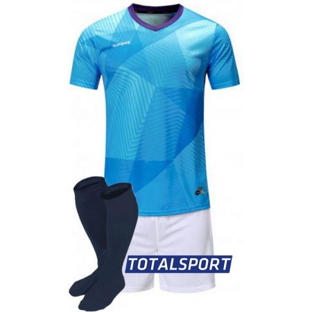 Футбольная форма Europaw 025 голубо-белая (футболка+шорты+гетры)
