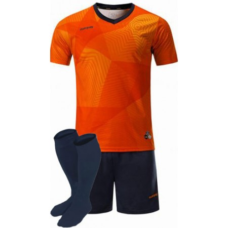 Футбольная форма Europaw 025 оранжево-т.синяя (футболка+шорты+гетры)