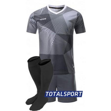 Футбольная форма Europaw 025 темно-серая (футболка+шорты+гетры)