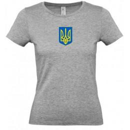 Футболка женская серая B&C с гербом Украина