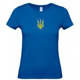 Футболка женская синяя B&C с гербом Украина