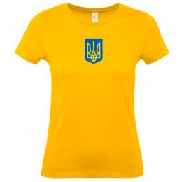Футболка женская желтая B&C с гербом Украина