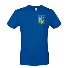 Футболка голубая B&C с гербом Украина
