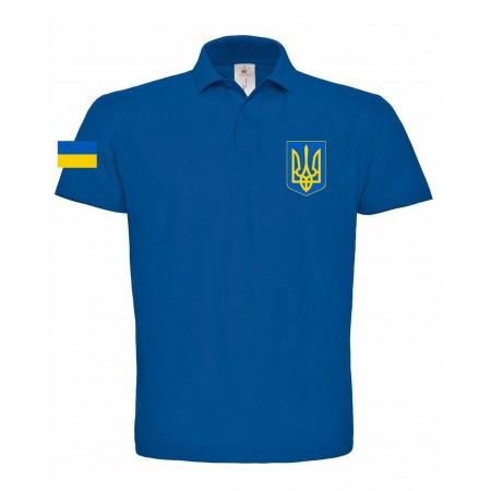 Поло B&C с гербом Украина синее
