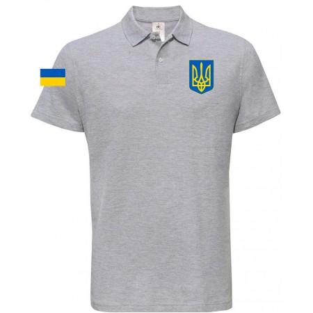 Поло B&C с гербом Украина серое