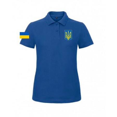 Поло B&C с гербом Украина синее женское