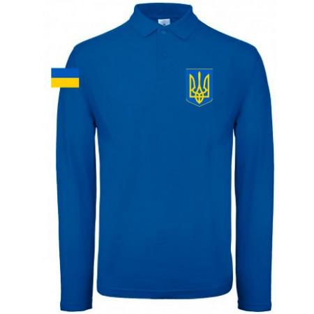 Поло B&C с гербом Украина синее длинный рукав