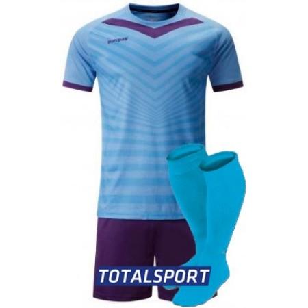 Футбольная форма Europaw 026 голубо-фиолетовая(футболка+шорты+гетры)