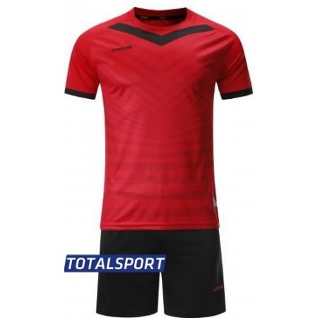 Футбольная форма Europaw 026 красно-черная(футболка+шорты+гетры)