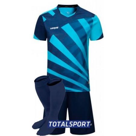 Футбольная форма Europaw 023 т.сине-голубая(футболка+шорты+гетры)