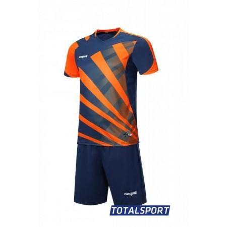 Футбольная форма Europaw 023 т.сине-оранжевый(футболка+шорты+гетры)