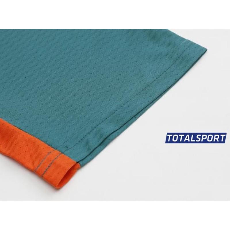 Футбольная форма Europaw 027 т.зелено-оранжевая(футболка+шоры+гетры)