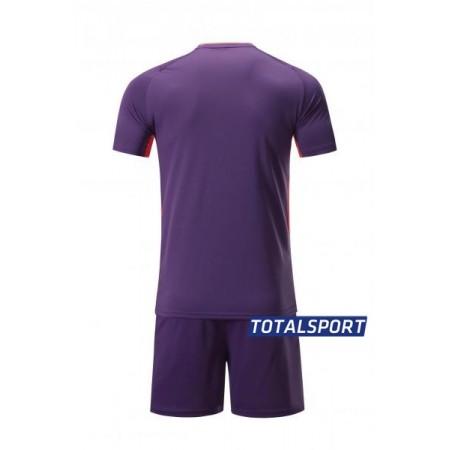 Футбольная форма Europaw 027 фиолетово-коралловая(футболка+шоры+гетры)