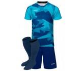 Футбольная форма Europaw 022 т.сине-бирюзовая(футболка+шоры+гетры)