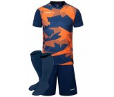 Футбольная форма Europaw 022 т.сине-оранжевая (футболка+шоры+гетры)