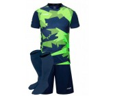 Футбольная форма Europaw 022 т.сине-салатовая (футболка+шоры+гетры)