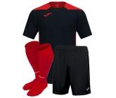 Футбольная форма Joma CHAMPIONSHIP VI(футболка+шорты+гетры) 101822.106 черно-красная