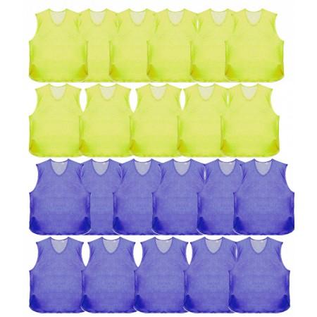 Манишки футбольные оптом Titar желтая 11 шукт плюс синияя 11 шт