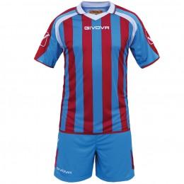 Футбольная форма Givova Kit Supporter бордово-голубая KITC24.0212