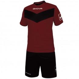 Футбольная форма Givova Kit Vittoria бордово-черная KITT04.0810