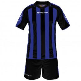 Футбольная форма Givova Kit Supporter черно-голубая KITC24.1002