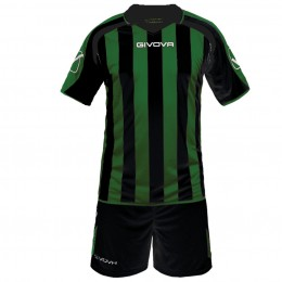 Футбольная форма Givova Kit Supporter черно-зеленая KITC24.1013