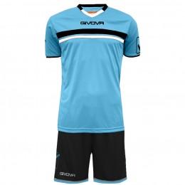 Футбольная форма Givova Kit Game черно-голубая KITC52.0510