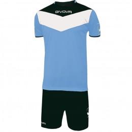 Футбольная форма Givova Kit Campo черно-голубая KITC53.0510