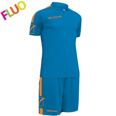 Футбольная форма Givova Kit Play синяя флуоресцентная KITC56.0228