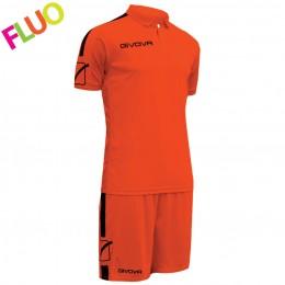 Футбольная форма Givova Kit Play оранжевая флуоресцентная KITC56.2810