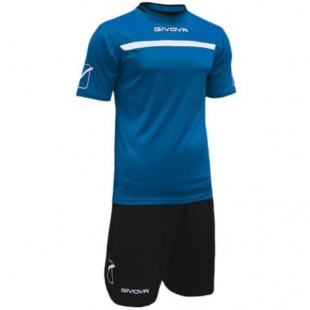 Футбольная форма Givova Kit One черно-голубая KITC58.0210