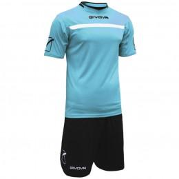 Футбольная форма Givova Kit One черно-голубая KITC58.0510