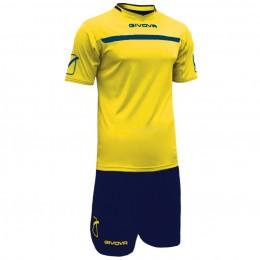 Футбольная форма Givova Kit One желто-синяя KITC58.0704