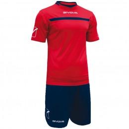 Футбольная форма Givova Kit One красно-синяя KITC58.1204