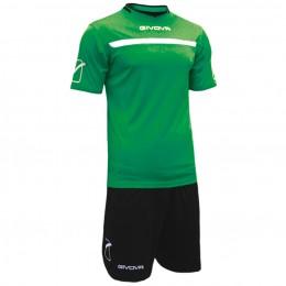 Футбольная форма Givova Kit One зелено-черная KITC58.1310
