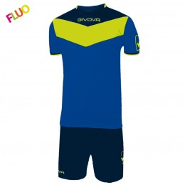 Футбольная форма Givova Kit Campo Fluo салатово-голубая KITC63.0219