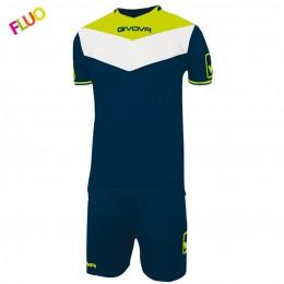 Футбольная форма Givova Kit Campo Fluo салатово-синяя KITC63.0419