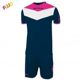 Футбольная форма Givova Kit Campo Fluo сине-розовая KITC63.0439