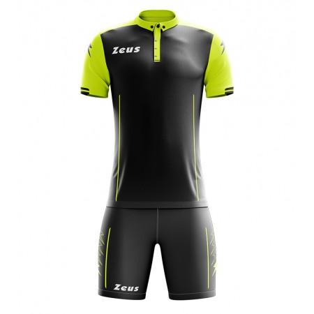 Футбольная форма Zeus KIT AQUARIUS футболка +шорты NERO/GIALLOFLUO
