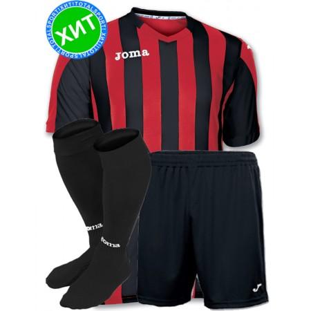 Футбольная форма Joma Copa(футболка+шорты+гетры) 100001.601 черно-красная