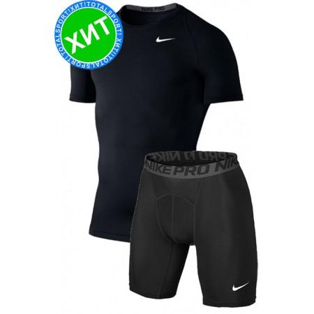 Термофутболка  и шорты компрессионные Nike Pro Cool kit black