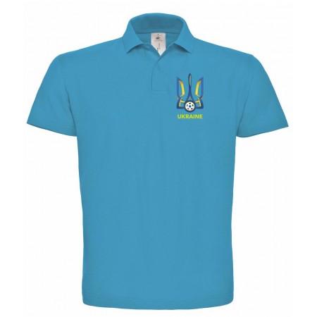 Поло B&C с гербом Украина голубое