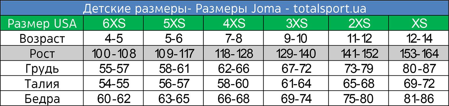 Детские размеры Joma